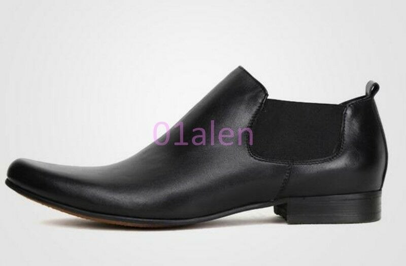 Uomo Leather High Top Chelsea Chukka Leather Uomo Ankle Boots British Pointy Toe Dress Shoes 3408aa