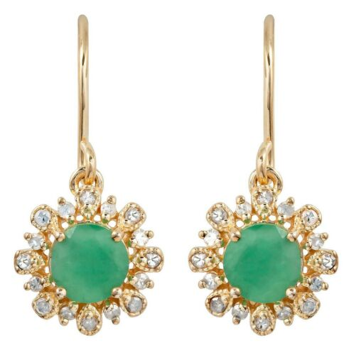 10k Or Jaune Véritable Rond Émeraude et Diamant Style Vintage Halo Boucles d/'oreilles