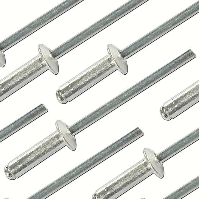 50 Stück Blindnieten 4,0 x 6mm Popnieten Standart Alu//Stahl Großkopf Nieten