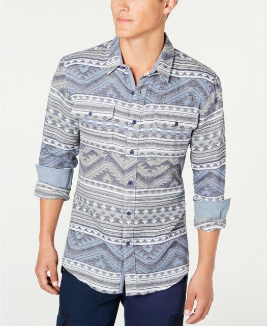 American Rag Men's Geometric Jacquard Shirt Grey Sizes Sm,Med, Large or XL, 2XL