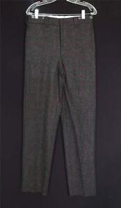 """Vintage 1990 Woolrich grau mit roten Streifen Plaid Wolle Jagd Hose 33"""" Taille"""