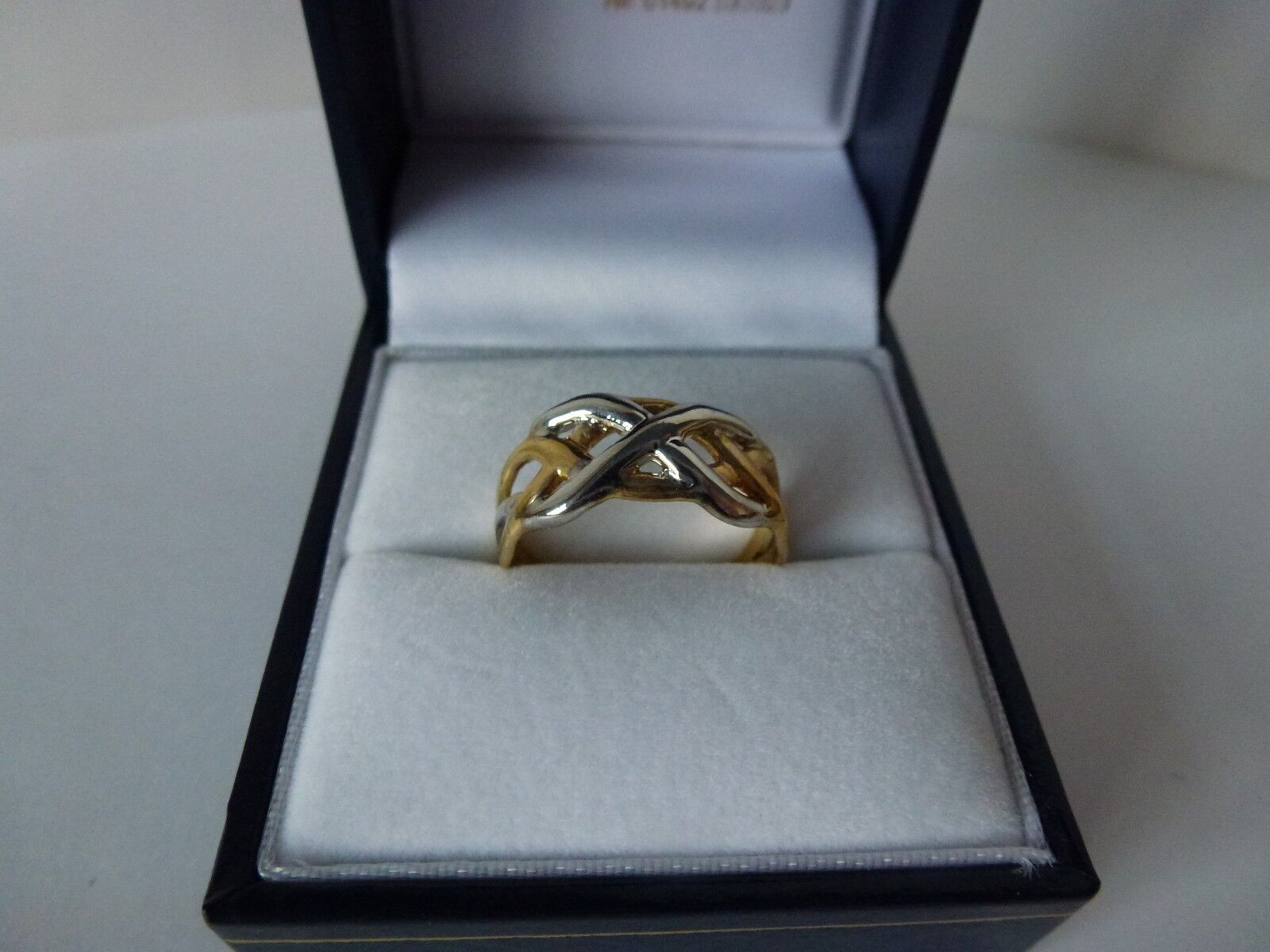 NEW, 9carat 9ct Yellow & White gold Celtic Ring, size L 1 2