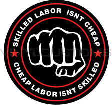 """2"""" Skilled Labor Isn't Cheap Sticker FunnyToolbox Sexy Babe Hot Hard Hat Decal"""