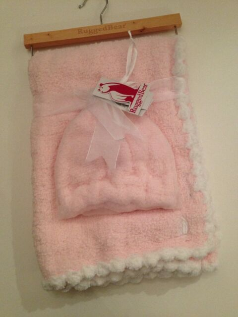 Rugged Bear Baby S Pink Blanket Hat Beanie Set Marshmallow Chenille Feel