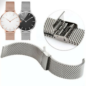 Mesh-Watch-Band-Link-Bracelet-Wrist-Strap-Clasp-Safe-Catch-Stainless-Steel-Acc
