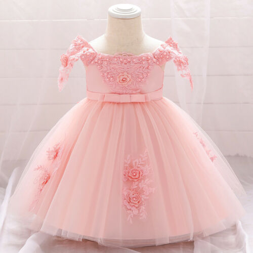 Childrens Kids Baby Girls Fancy Beaded Flower Embroidered Party Tulle Dress Gown