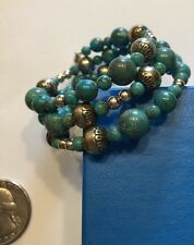 Carolyn Pollack- Relios Sterling Blue Turquoise & Bench Bead Coil Bracelet