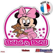 Sticker autocollant Bébé à Bord - Minnie bébé Fille enfant Auto Voiture