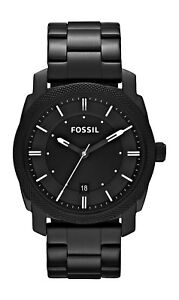 43e9622cf10d FOSSIL Men s Machine Stainless Black Bracelet Band Black Dial Watch FS4775