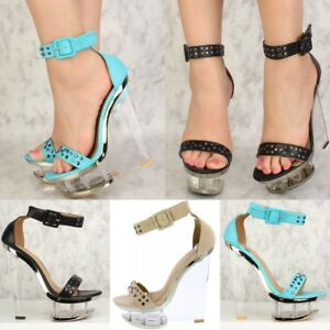 adf232ea2941 Summer Trend Open toe Studded Clear high Heels Wedges Platform ...