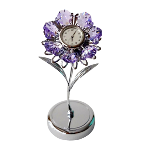 Crystocraft-Lilac-Flower-Crystal-Clock-Ornament-Swarovski-Elements-Gift-Boxed