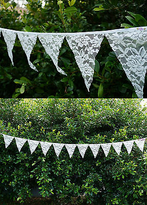 Lace Bunting Pennant Banner 3.2m 12 Flags Vintage Wedding Hanging Decoration