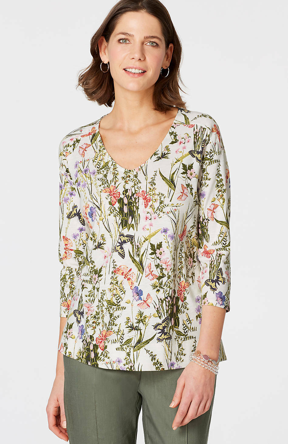 J. Jill - 3X(Plus) - Beautiful Cream Butterfly Garden V-Neck Knit Top - NWT