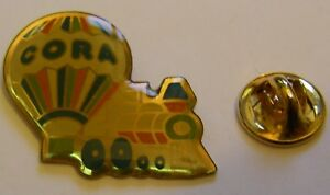 HOT-AIR-BALLOON-CORA-TRAIN-vintage-Pin-Badge