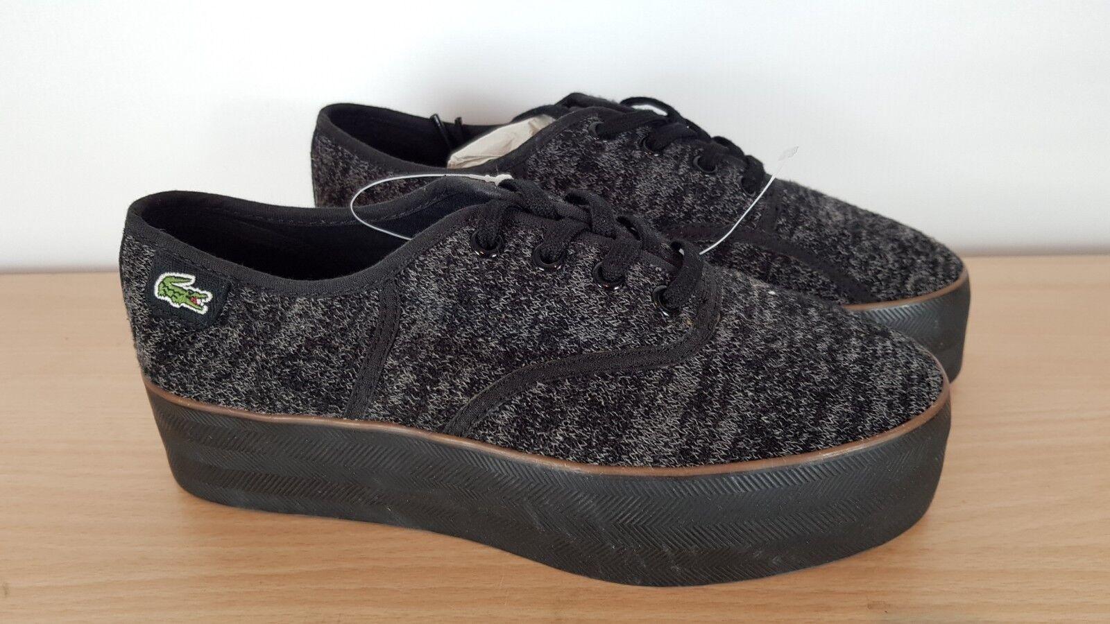 Lacoste Damas Rene Negro y gris Zapatos Zapatos Zapatos De Plataforma, UK 4 EU 37  Ahorre hasta un 70% de descuento.