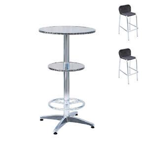 Sgabelli Alluminio Bar.Dettagli Su Set Da Bar Tavolo Alto In Alluminio 2 Sgabelli Alluminio Wicker Con Schienale
