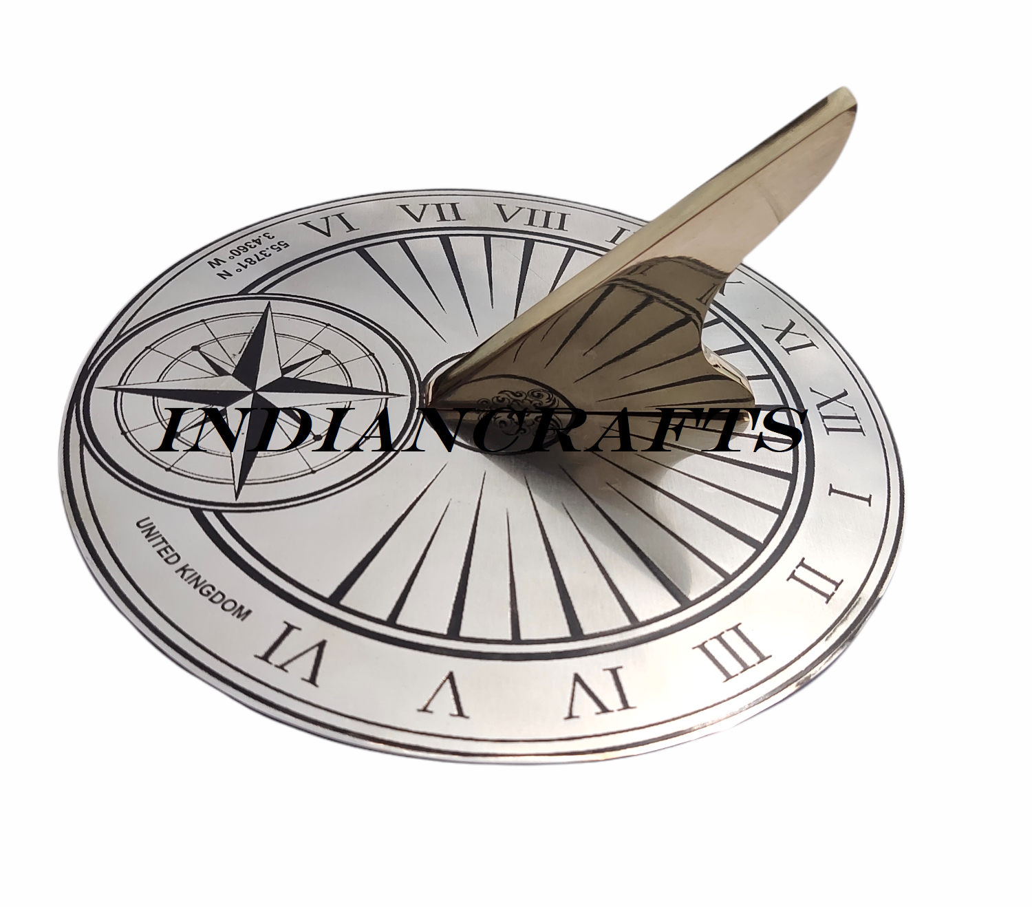 Garden Nautical Sundial 8 Inch Country Name & Coordinates Engraved Best Gift