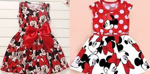 UK Girls Baby Kids Minnie Mouse Print Bowknot Polka Dot Cosplay Party Dress