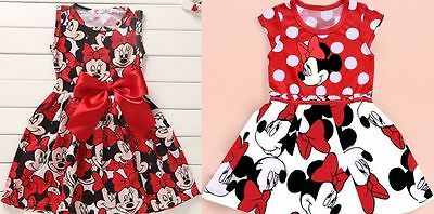 Dresses Clothing, Shoes & Accessories Uk Girls Baby Kids Minnie Mouse Print Bowknot Polka Dot Cosplay Party Dress To Have Both The Quality Of Tenacity And Hardness