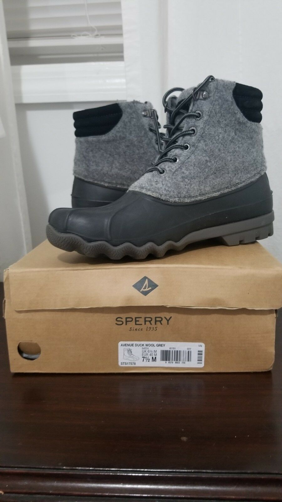 Sperry Top-Sider Avenue / Duck Boots (Men's) $110 Grey Wool / Avenue Leather NEW aaa568