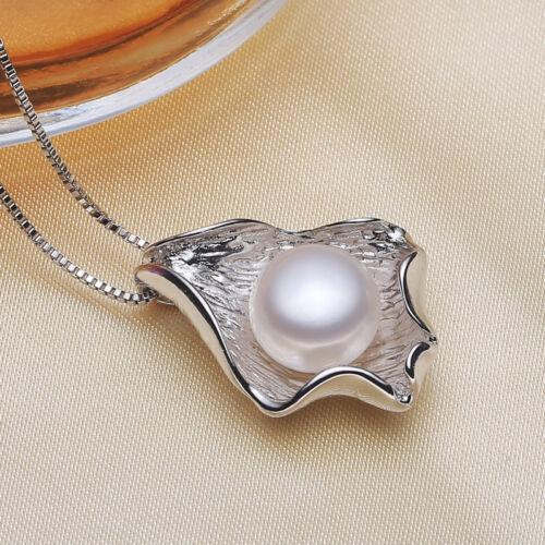 Véritable 11-12 MM BLANC NATUREL Akoya Pearl Sterling Silver Leaf Collier Pendentif
