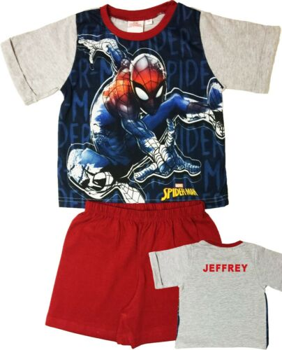 Boys Avengers Spider-Man Pyjamas Short Summer Pjs Personalised With Name