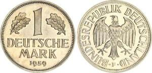 Germany 1 DM Currency Coin 1959 F (2) EA, Almost Bu / Pf