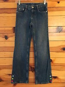 GYMBOEE-Girls-SMART-AND-SWEET-Flower-Button-Jeans-Size-12