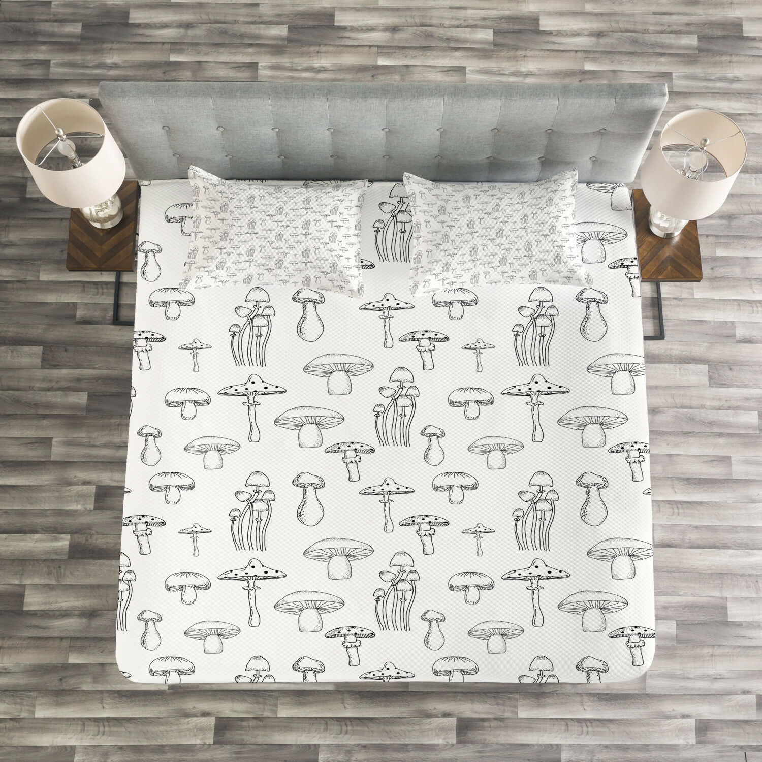 Mushroom Quilted Bedspread & Pillow Shams Set, Monochrome Doodle Art Print