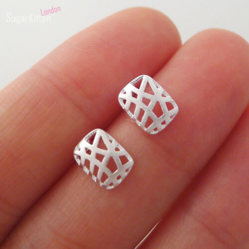 Solid Sterling Silver Brushed Hollow Puffed Rectangle Love Nest Stud Earrings