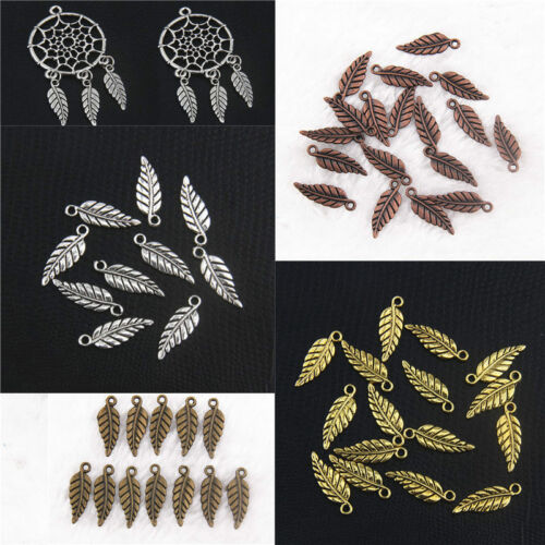 100x Tibetan silver Vintage Alloy Leaves Shaped Pendants Charms Crafts Findings