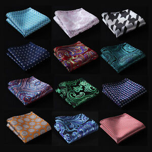 FE-Paisley-Floral-Handkerchief-Mens-Silk-Pocket-Square-Hanky-Wedding-Party-Blue