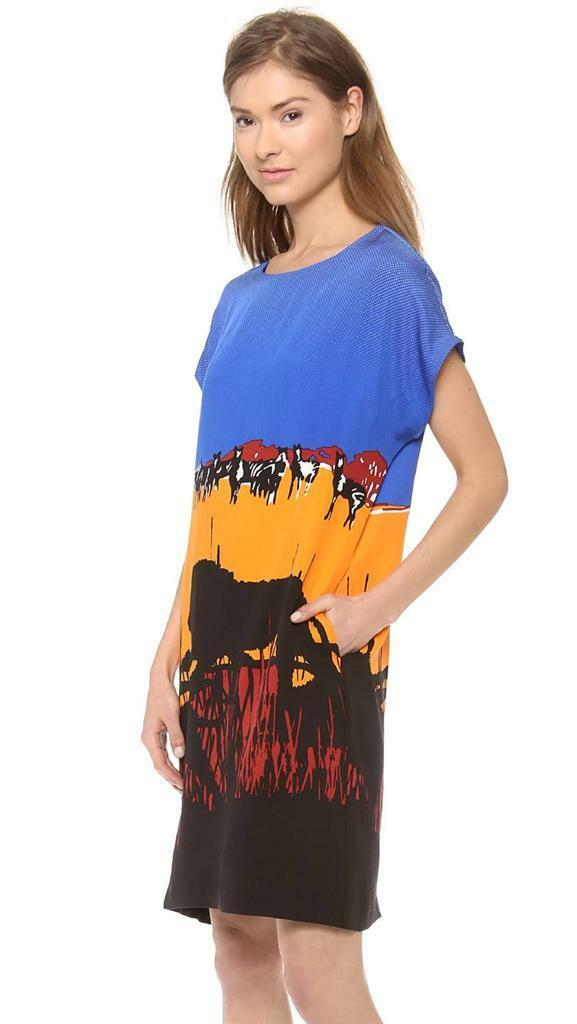 DVF Diane Von Furstenberg HARRIET Jersey Tunic Safari Dress Lion Landscape