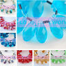 10pcs 20X10mm Faceted Teardrop Crystal Glass Loose Spacer Beads Pandents Finding
