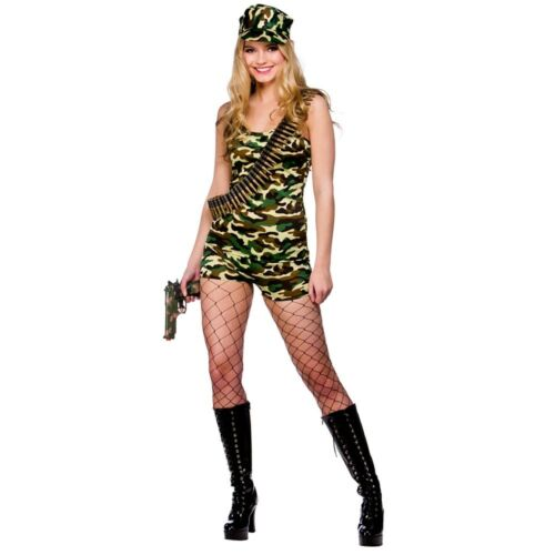 Adult BOOT CAMP BABE Fancy Dress Army Forces Combat Ladies Costume UK Sizes 6-20