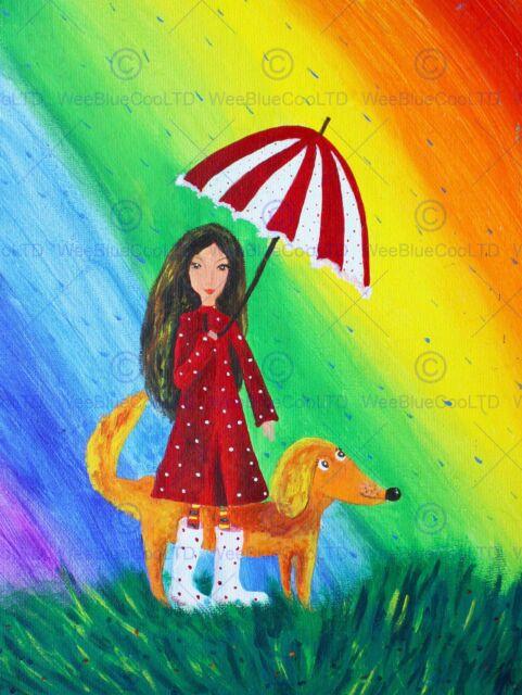 Painting Drawing Girl Dog Rainbow Umbrella Rain Colour Red Coat