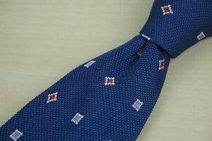 Belvest-Deep-Blue-Woven-Cherry-Red-Geometric-100-Silk-Tie
