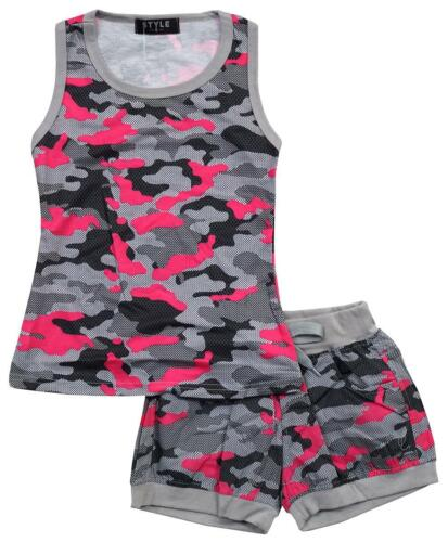 Girls Top Shorts Army Camo Print Vest 2 Piece Summer Outfit 2 to 12 Years