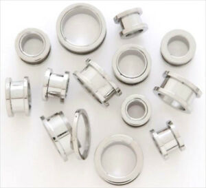 1-PAIR-316L-Surgical-Steel-Screw-Fit-Flesh-Ear-Plugs-Tunnels-Earlets-Gauges