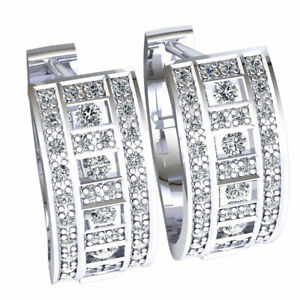 Details About Real 0 5carat Round Cut Diamond Las 3row Huggies Earrings Solid 10k Gold