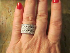 Sterling Silver Micro Pave CZ Filigree Vintage Look Cigar Band Wide Ring Size 7