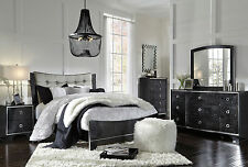 CIARA - 5pcs Contemporary Glossy Black King Size Bed Panel Bedroom Set Furniture