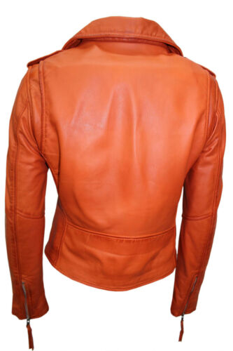 de Nouveau cuir Ladies Biker en style nappa Brando Designer décontracté Veste orange nwOPX80k