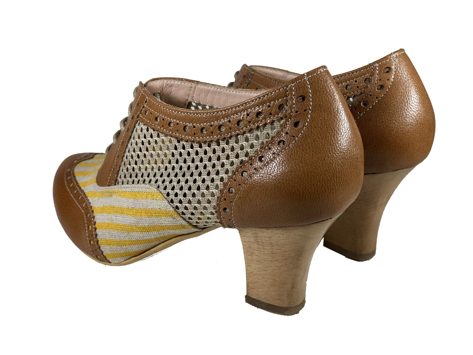damen schuhe braun Leather Leather Leather Gelb Stripe Mesh Limited Collection Handmade New bd3785