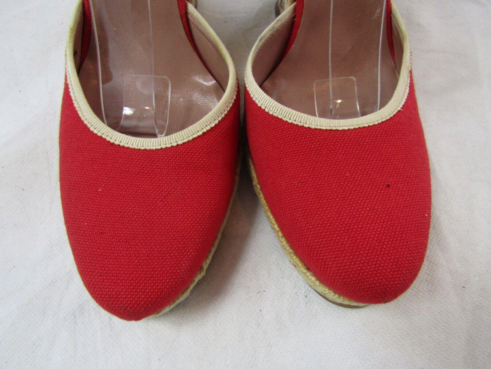 Azzedine Alaia Red Espadrille Wedge Size 37.5 Ret… - image 3
