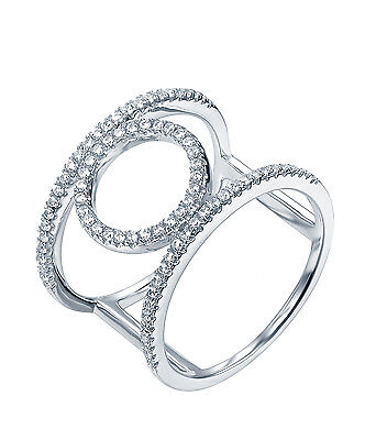 Sterling Silver (925) Cubic Zirconia CZ Twin Band Ring   Size 7 - 9