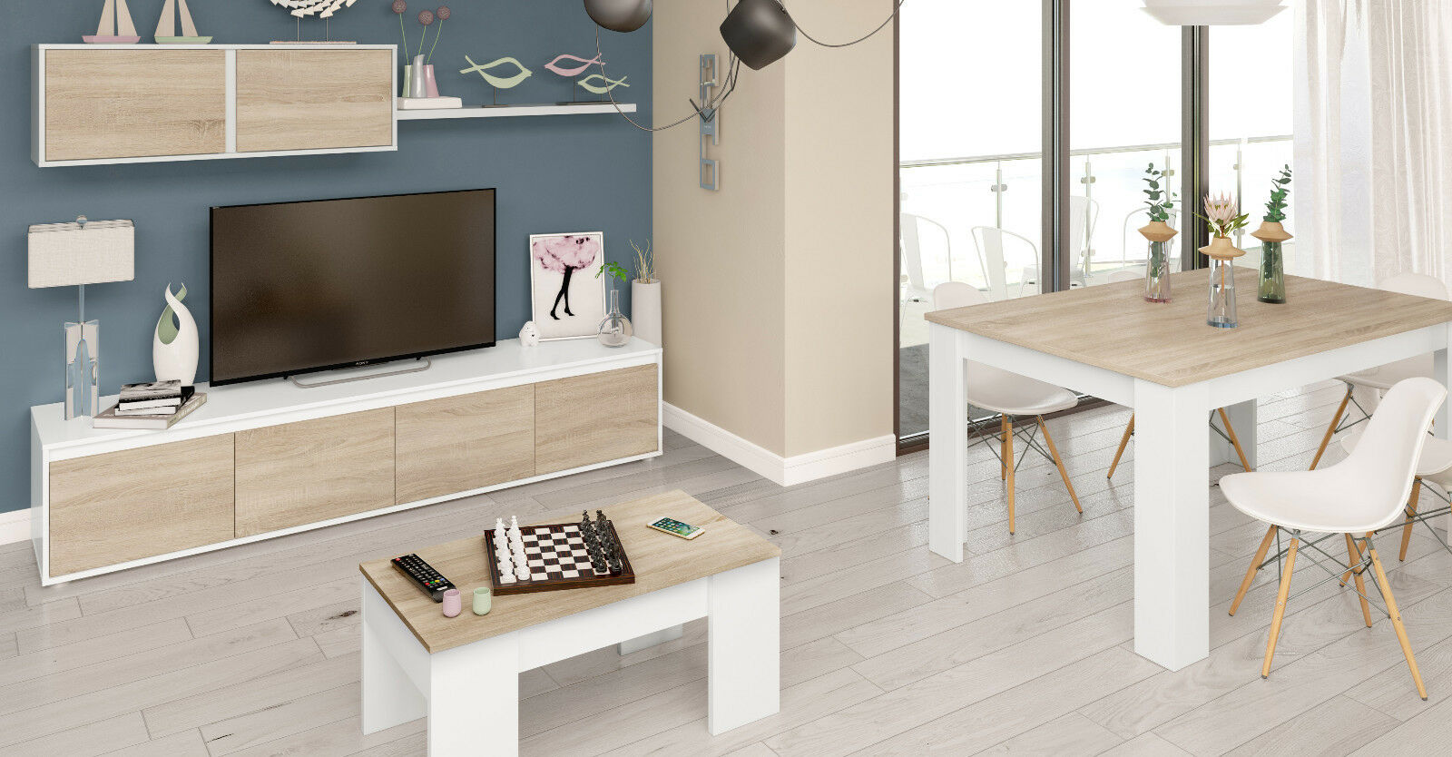 Pack muebles salon comedor completo color blanco y roble estilo nordico