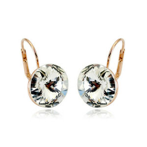 21d0ed4d4 Large 15 MM Round Bella Earrings Clear Swarovski Crystal Rose Gold ...