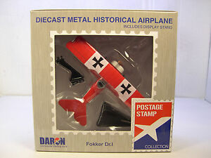 WWI GERMAN FOKKER DR I RED BARON DARON 1:63 SCALE DIECAST DISPLAY