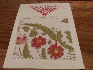 Raoul Textiles Kashmir India Oyster Linen Rare Textile Sample Floral Collector
